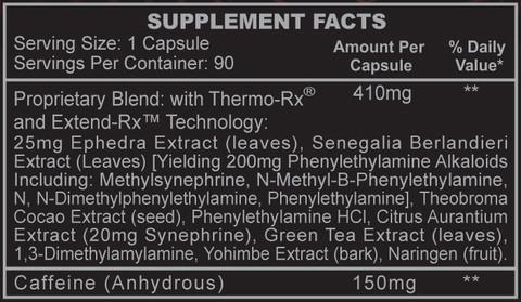 Black Widow Fat Burner Supplement Facts