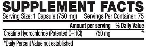 C-HCL Caps Supplement Facts
