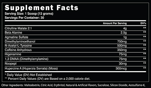 Dust Extreme with DMAA Supplement Facts