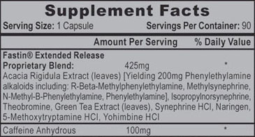Fastin XR Supplement Facts