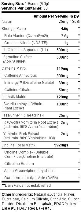 Hyde V3 Mango Passion Supplement Facts