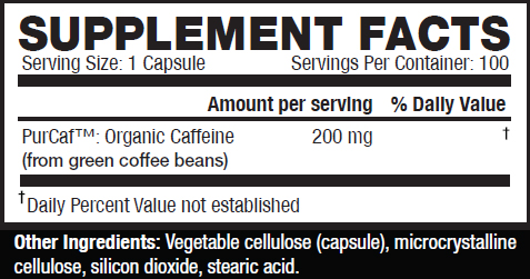 Kaged Muscle Caffeine 100 VCaps Supplement Facts