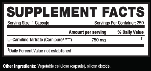 Kaged Muscle L-Carnitine 250 Supplement Facts