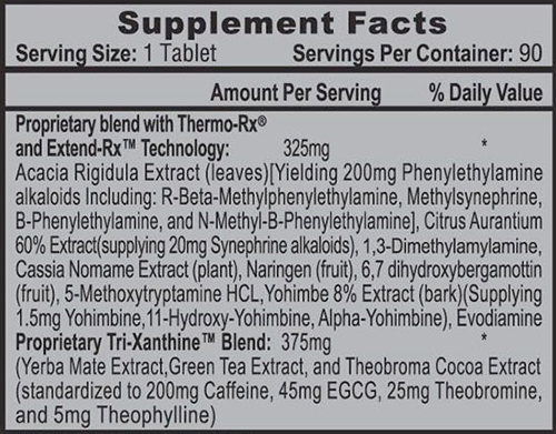 Lipodrene Hardcore Supplement Facts