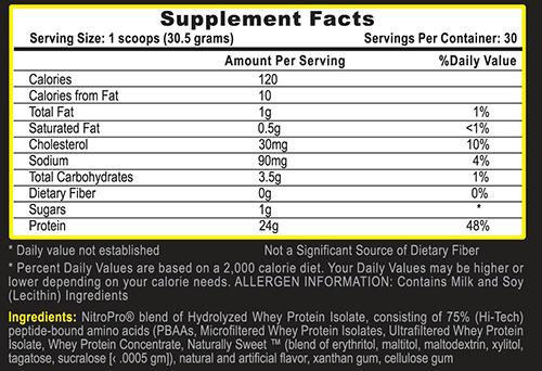 Nitro Pro Protein Orange Creamsicle Supplement Facts
