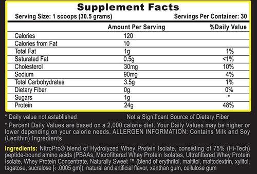 Nitro Pro Protein Vanilla Ice Cream Supplement Facts
