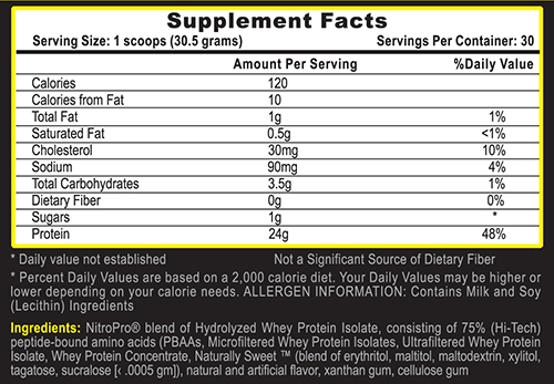 Nitro Pro Protein Vanilla Milkshake Supplement Facts