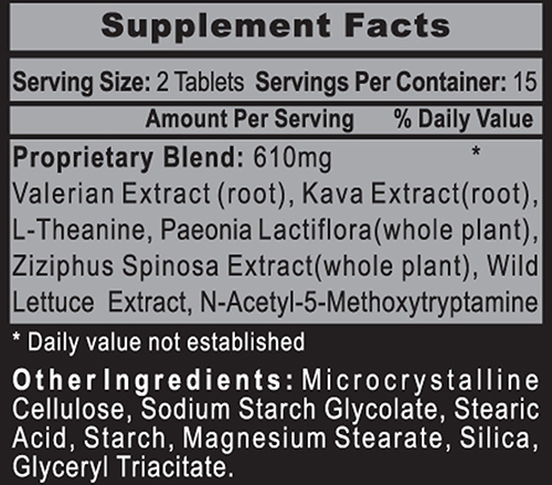 Sleep Rx Supplement Facts