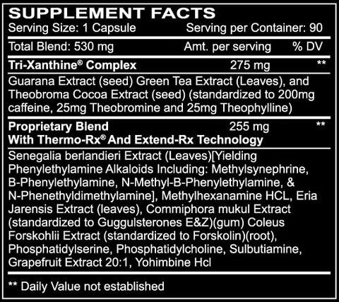 Diablos Hyperburn Supplement Facts
