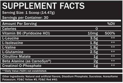 Endurance BCAA Plus Supplement Facts
