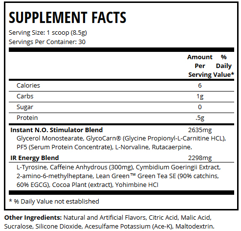 Game Day Pre Workout Supplement Facts