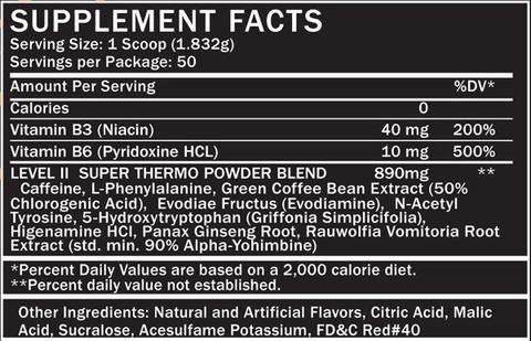 Level II Fat Burner Powder Supplement Facts