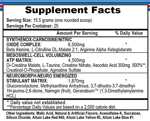 Mesomorph Tutti Frutti Supplement Facts