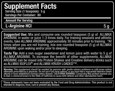 Allmax Arginine Supplement Facts
