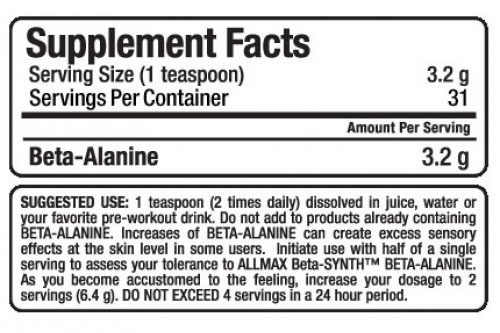 Allmax Beta Alanine Supplement Facts