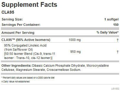 Allmax CLA 95 Supplement Facts