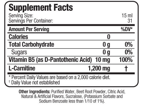 Allmax L-Carnitine Liquid Supplement Facts