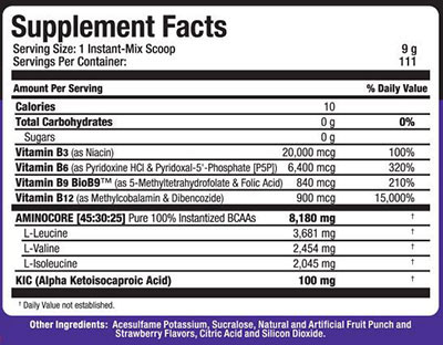 AminoCore Powder, Supplement Facts