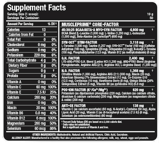 MusclePrime Supplement Facts