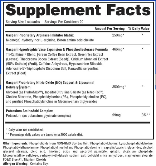 PlasmaJet Supplement Facts