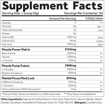 Shadow X Pre Workout Magic Berry Supplement Facts