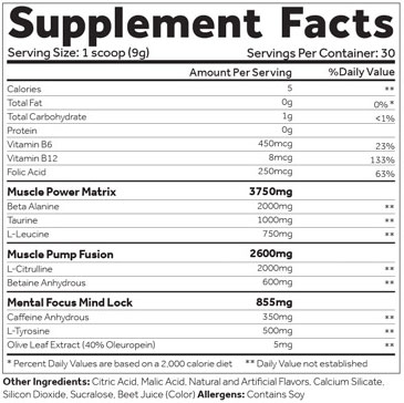 Shadow X Pre Workout Neon Tropic Supplement Facts