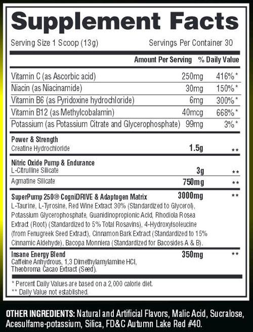 Superpump 250 Rainbow Italian Ice Supplement Facts