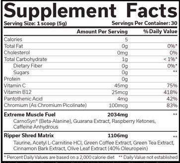 The Ripper Fat Burner Raspberry Lemonade Supplement Facts