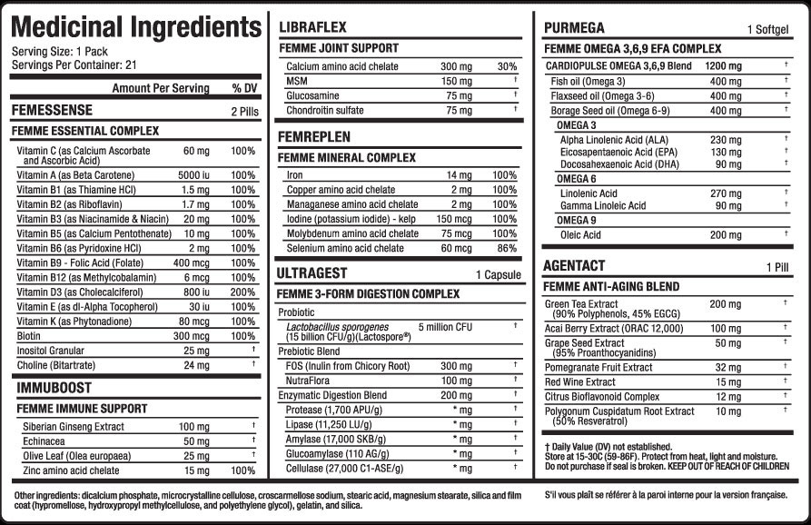 Vitafemme Multi-Pack Supplement Facts