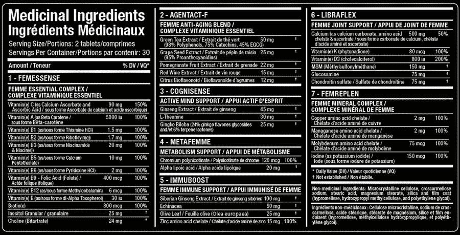 Vitafemme Tablets Supplement Facts