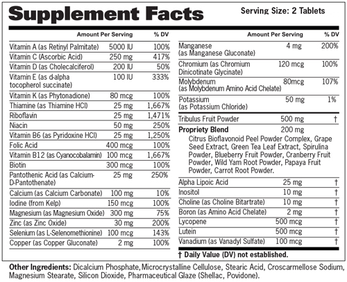 Mens Multi Test Supplement Facts