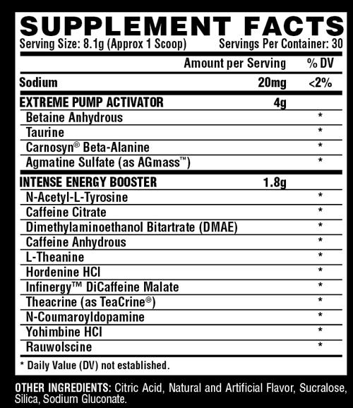 Hemo Rage Underground Fruit Punch Supplement Facts