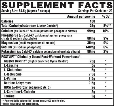 Nutrex Postlift Supplement Facts