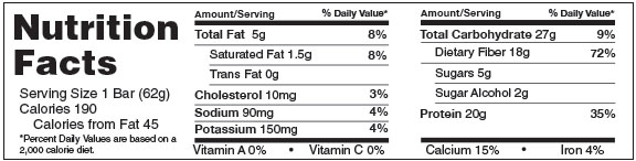 B-UP Protein Bars Chocolate Brownie Nutrition Facts