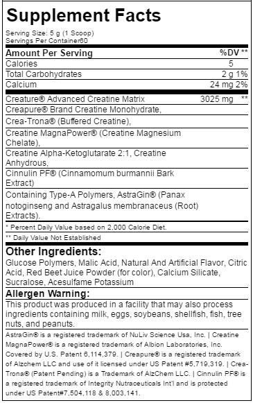 Creature Creatine Powder Supplement Facts
