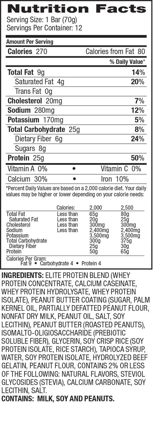 Elite Protein Bars Peanut Butter Nutrition Facts