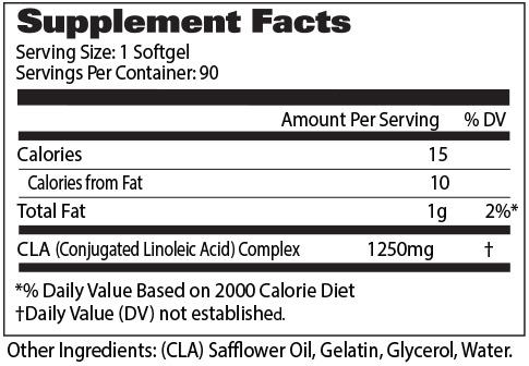 GAT CLA 1250 Supplement Facts