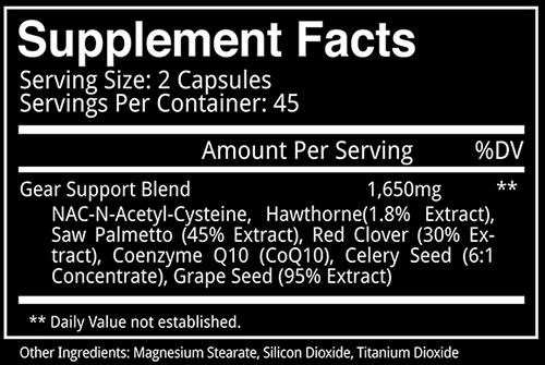 Blackstone Labs Gear Support Supplement Facts
