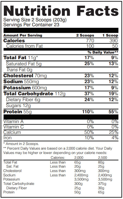 Gold Standard Gainer Nutrition Facts