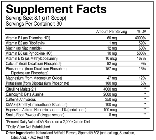 Predator Supplement Facts