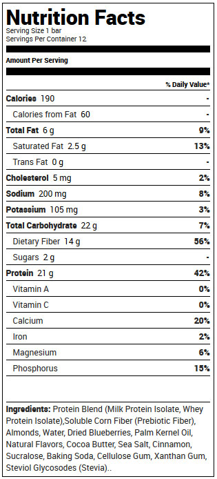 Quest Bars Blueberry Muffin Supplement Facts