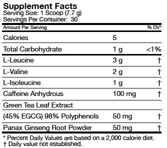 BCAA Energy Sport Supplement Facts
