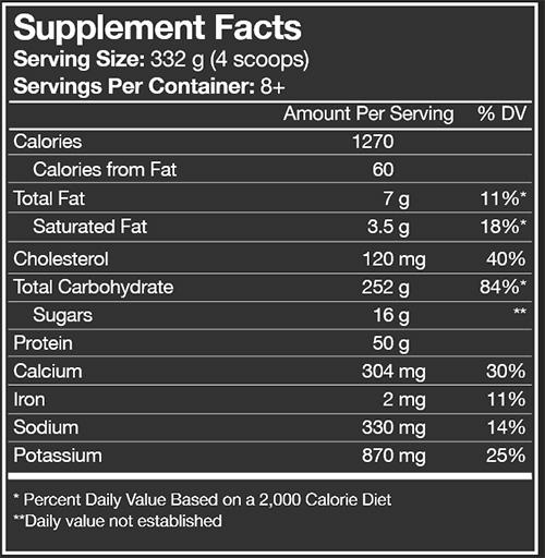 Combat XL Mass Gainer Supplement Facts