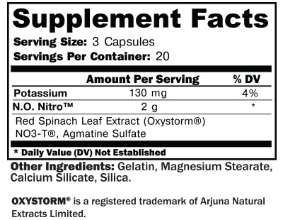 NO Nitro Supplement Facts