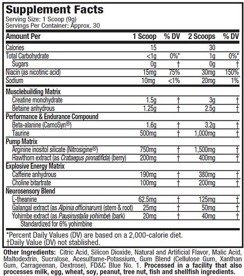 Vapor X5 Supplement Facts