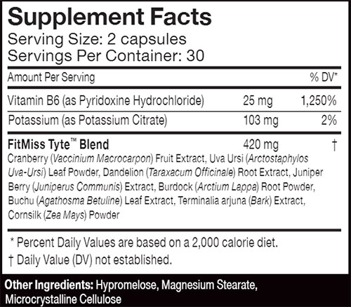 FitMiss Tyte Supplement Facts