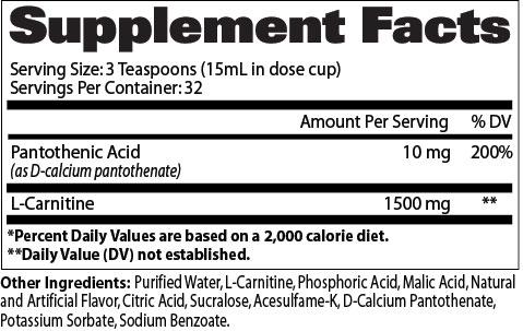 GAT L-Carnitine Supplement Facts