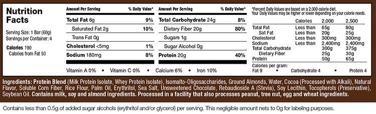 Mission 1 Bars Supplement Facts