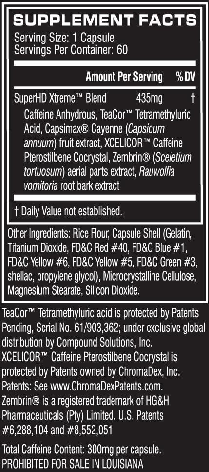 Super HD Xtreme Supplement Facts
