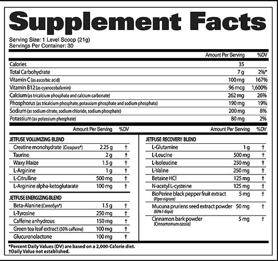 JetFuse Nox Supplement Facts